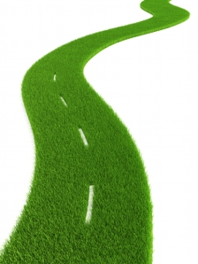 3d grassy road isolated
